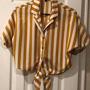 Yellow and White Cropped TopShop Tie Shirt